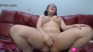 Adorable brunette with huge ass pounds her phat vagina.mp4