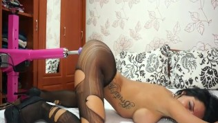 Anisyia livejasmin stockings, high heels geting fucked by machine part1