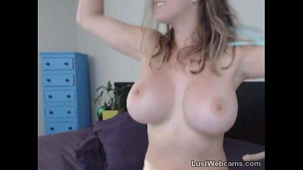 Big titted MILF masturbates with dildo on cam
