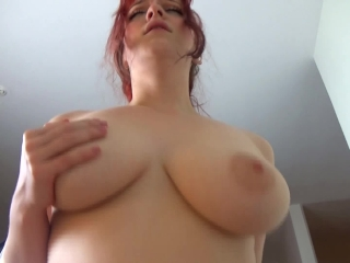 Hot redhead in stockings gets creampied
