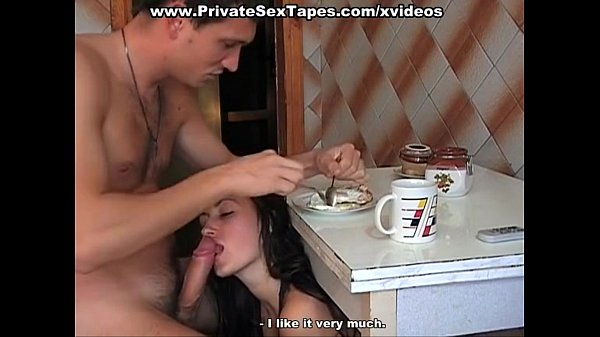 Naughty amateur couple fucking instead of breakfast