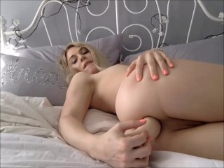 Teen Shemale Fucking Herself with a BIG Dildo