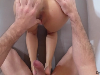 Wet tiny girl makes he cum twice in her mouth!